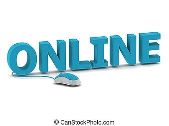 online, und, computermaus
