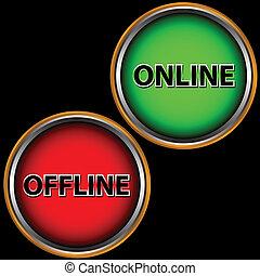 online, und, offline, ikone