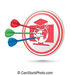 online undervisning, begreb, target, hos, dart, finder, på,...