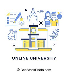Online university flat outline vector concept isolated on...