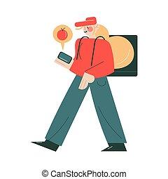 online, usando, smartphone, mensageiro, uniforme, aplicação, ordens, trabalhando, entregar