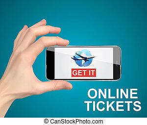 online, vasthouden, kaartjes, hand, telefoon., concept., kopen, lucht, illustratie, beweeglijk