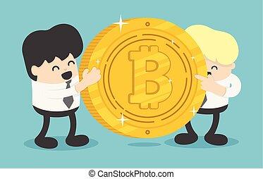online, vetorial, investimentos, bitcoin, fazer, financiando, laptop, ilustração, conceito