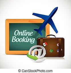 online, viagem, conceito, booking.