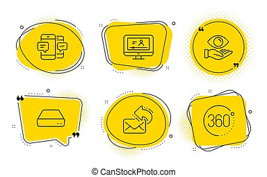 Online video, Health eye and Share mail icons set. Smartphone sms, Mini pc and 360 degrees signs. Vector