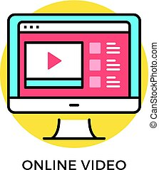 Online video icon. Computer with web browser with video...
