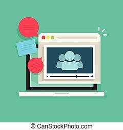 online, video konferencia, emberek társalgás, hívás, technológia, gyűlés, webinar, ikon