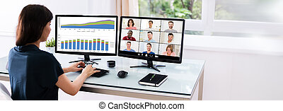 online, video, oglądając, spotkanie, konferencja