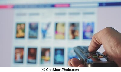 online video streaming service. with apps and hand. smart...