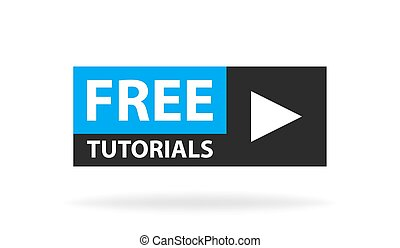 Online video tutorials education button. Play lesson...