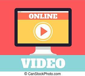Online video. Vector flat illustration