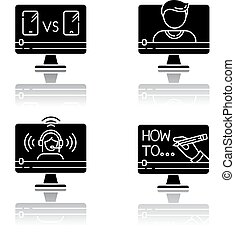 Online video watching drop shadow black glyph icons set