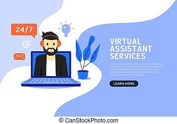 Online virtual assistant services banner flat design.