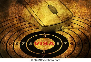 Online visa grunge  concept