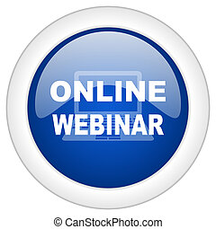 online webinar icon, circle blue glossy internet button, web and mobile app illustration