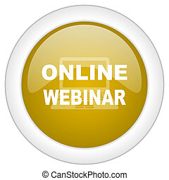 online webinar icon, golden round glossy button, web and mobile app design illustration