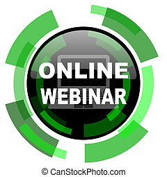 online webinar icon, green modern design isolated button, web and mobile app design illustration