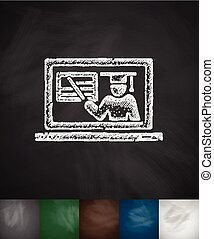 online webinar icon. Hand drawn vector illustration. Chalkboard Design
