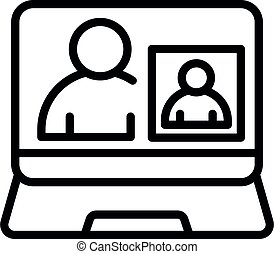 Online webinar icon, outline style