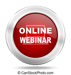 online webinar icon, red round glossy metallic button, web and mobile app design illustration