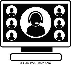 Online webinar icon, simple style