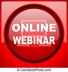 online webinar red icon plastic glossy button