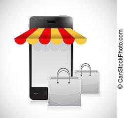 online winkel, en, zakken, illustratie, ontwerp
