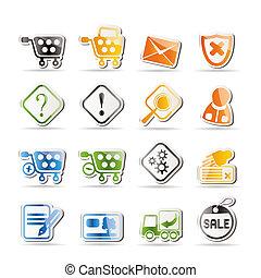 online winkel, iconen, -, vector, pictogram, set