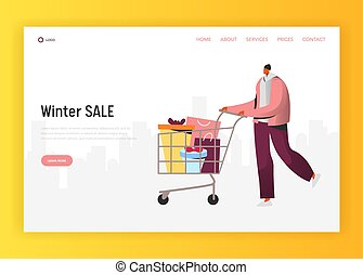 Online Winter Sale Illustration for landing page, Man doing purchases for Holidays, pushing shopping cart with boxes, gifts and presents. People Character on discount website concept template, e-commerce customer in vector