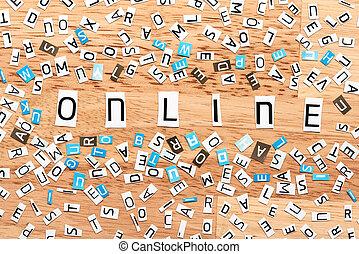 online, wort, von, ausschneiden, briefe
