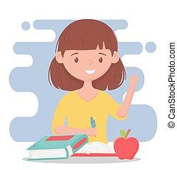 online wykształcenie, nauczyciel, samica, jabłko, książki