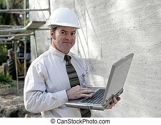 online, zbudowanie, inżynier
