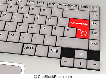Onlineshop Keyboard - 3d illustration of keyboard with red...