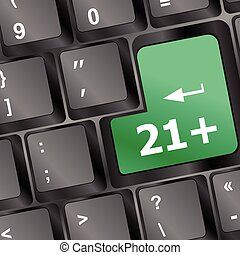 only 21 plus button on keyboard vector illustration