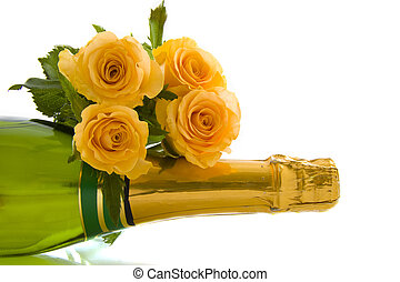 Only for you - A bottle of champagne and roses isolated over...