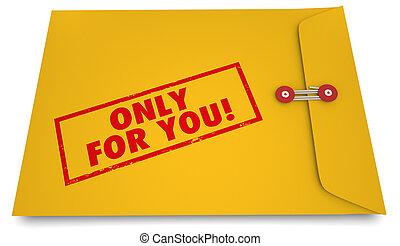Only for You Personal Secret Information Envelope 3d Illustration