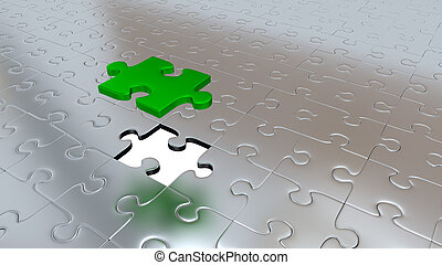 One Green Puzzle Piece above all other Silver Puzzle Pieces with one missing piece