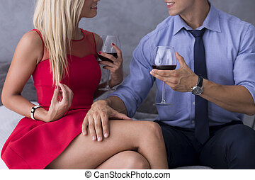 Only one night stand.... - Beautiful blonde woman in a red...