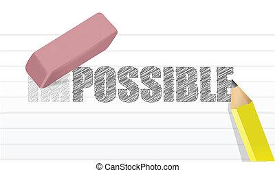 onmogelijk, conceptontwikkeling, mogelijk, illustratie