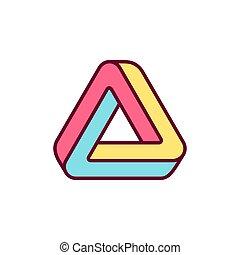 onmogelijk, driehoek, pictogram