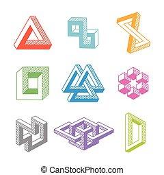 onmogelijk, geometrisch, vector, kleurrijke, shapes.