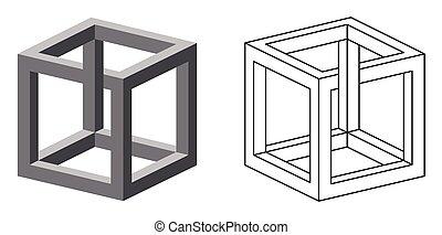 onmogelijk, kubus, optische illusie