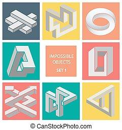 onmogelijk, objects., set, 1.