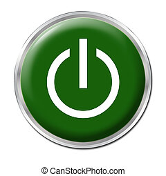 Green button with the symbol On/Off