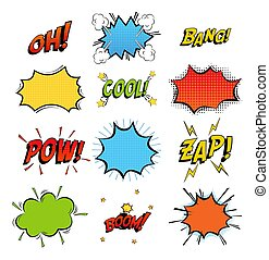 Onomatopoeia comics sounds in clouds for emotions and kaboom...
