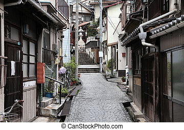 Onomichi, Japan - town in the region of Chugoku. Old town street.