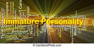 onrijp, concept, gloeiend, achtergrond, persoonlijkheid