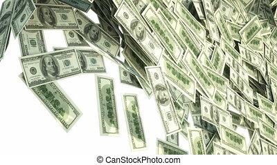 ons dollar, bundels, vallen beneden