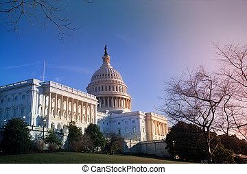 ons, gebouw, washington capitool, dc, ondergaande zon