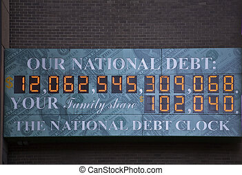ons, nationale, schuld, klok